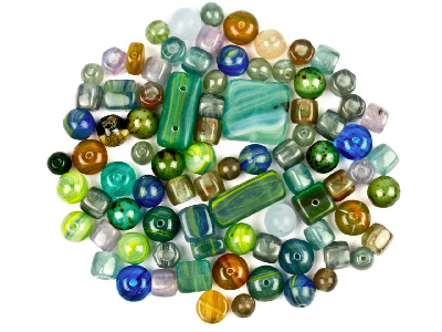 Preciosa Czech Cold Green Glass Bead Mix 50g