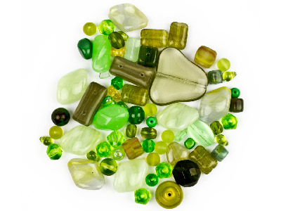 Preciosa Czech Olive Green Glass Bead Mix 50g