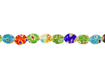 Millefiori Multicoloured Oval Glass Beads 8x9mm 1640cm Strand