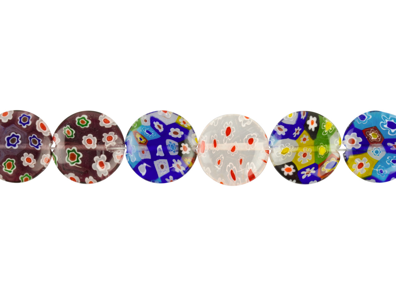 Millefiori Multicoloured Coin Glass Beads 18mm, 16