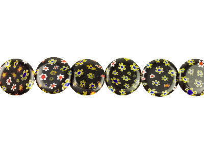 Millefiori Black Coin Glass Beads 18mm 1640cm Strand