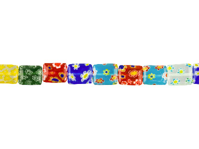 Millefiori Multicoloured Square    10mm 1640cm Strand