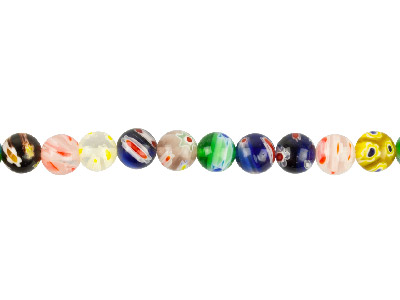 Millefiori Multicoloured Round Beads 10mm 1640cm Strand