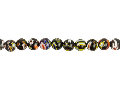 Millefiori Black Round Beads 10mm 1640cm Strand