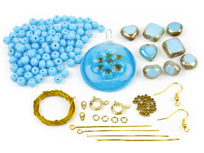 Glass Bead Pendant Kit Turquoise Tones, 4 Compartments
