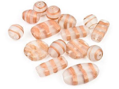 Glass Beads Selection Clear Frost With Sparkle Copper Stripe 50g Pack