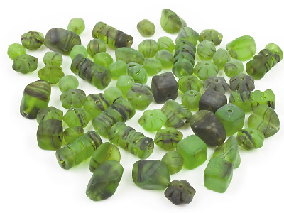 Glass Beads Selection Frosted Green, 50g Pack