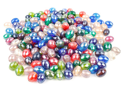 Glass Beads Mixed 11x9mm Oval Lustre Lamp Beads