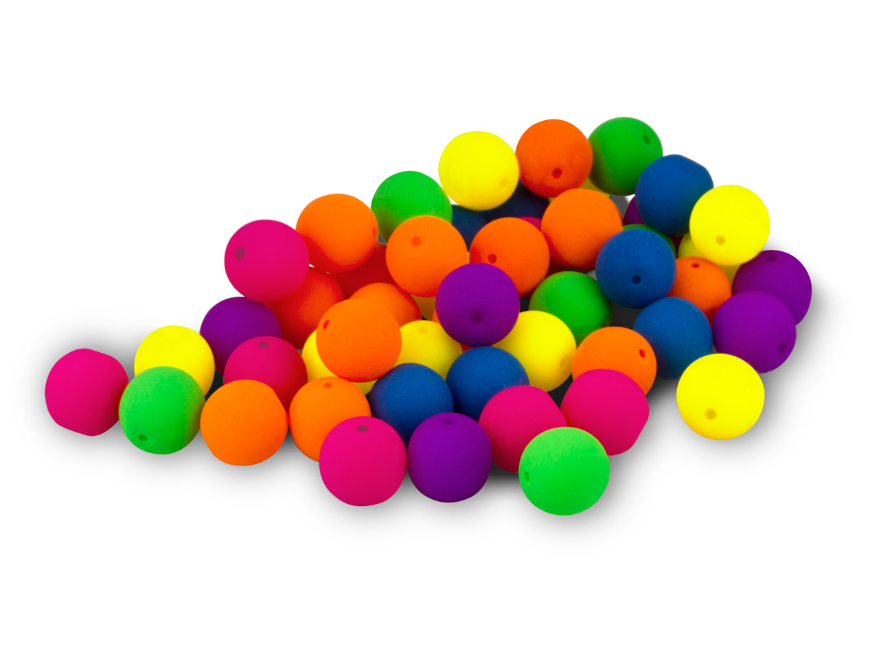 Neon Glass 8mm Round Beads, Mixed  Colours, Pack of 50