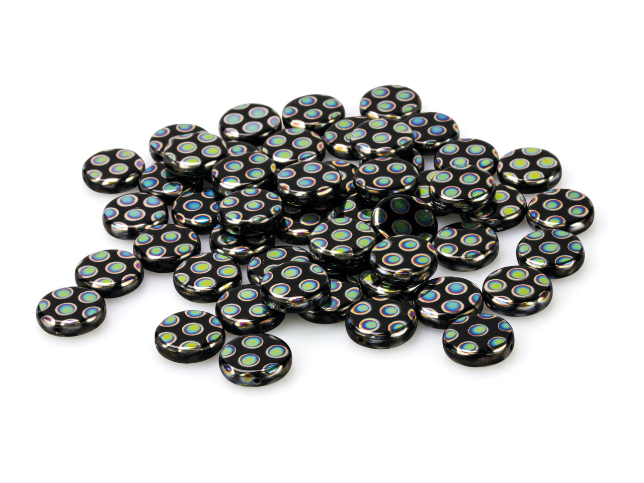 Black Glass Round Beads, Vacuum    Plated With Coloured Spots, 12mm,  Pack of 50