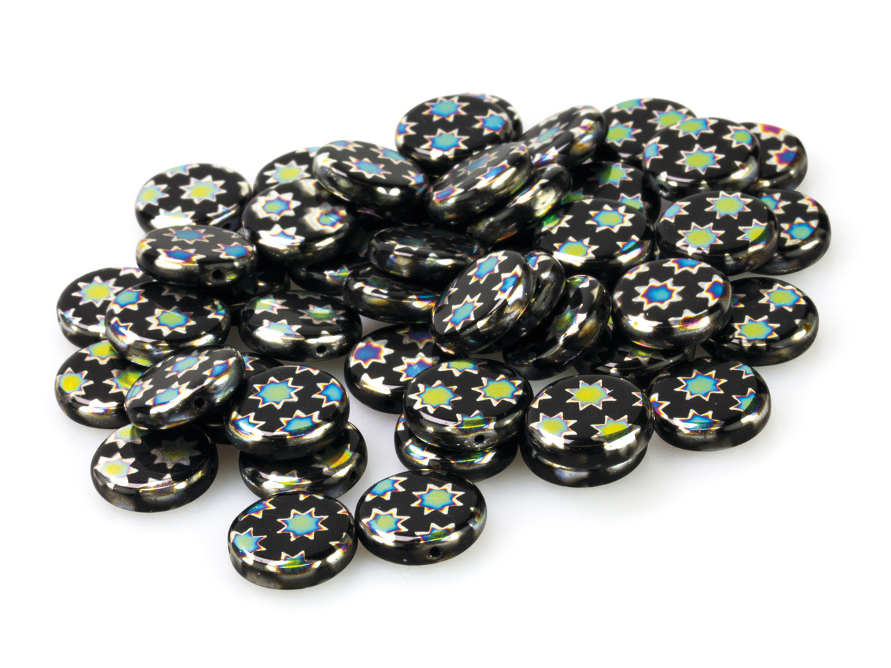 Black Glass Round Beads, Vacuum    Plated With Coloured Stars, 12mm,  Pack of 50