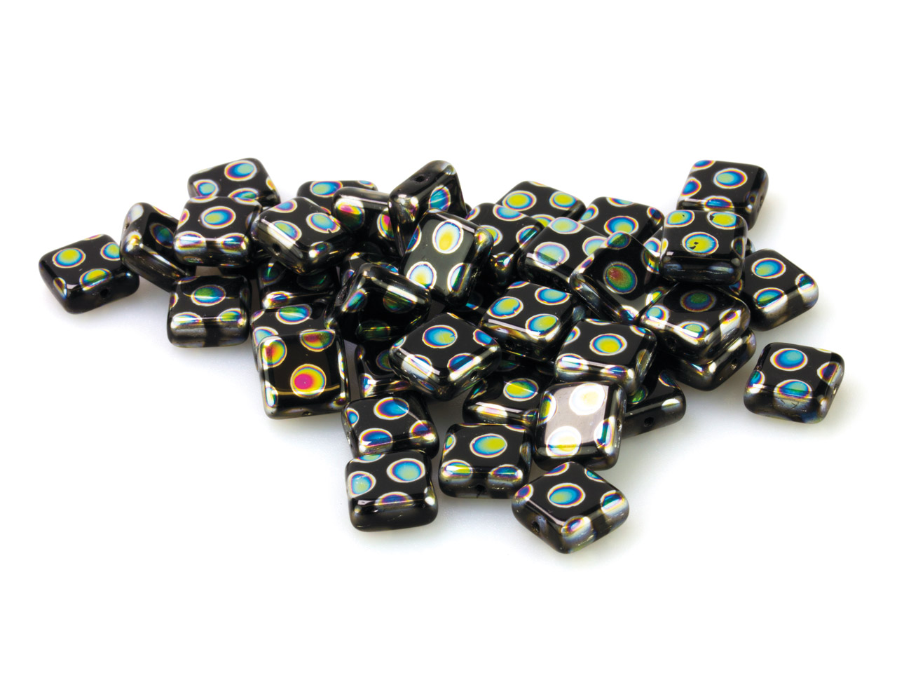 Black Glass Square Beads, Vacuum   Plated With Coloured Spots, 8mm,   Pack of 50