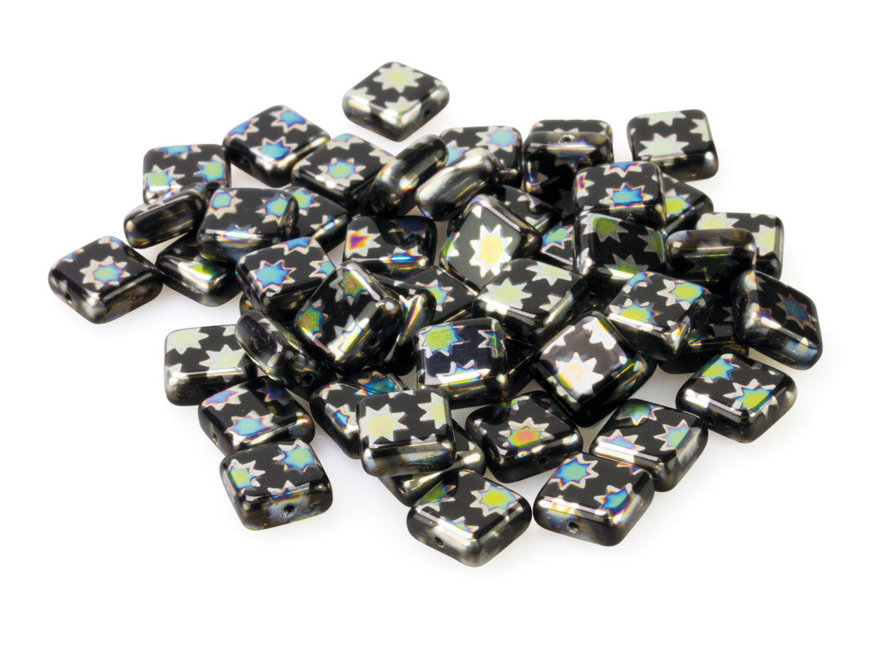 Black Glass Square Beads, Vacuum   Plated With Coloured Stars, 8mm,   Pack of 50