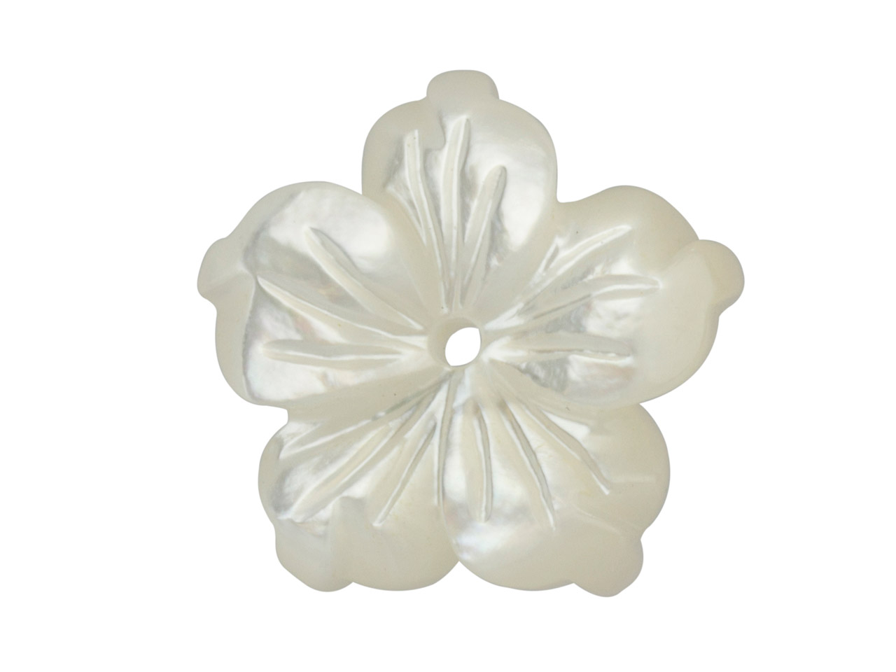Mother of Pearl White Small Carved Flower With Centre Drill Hole