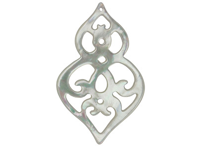 Mother of Pearl White Large        Filigree Baroque Drop