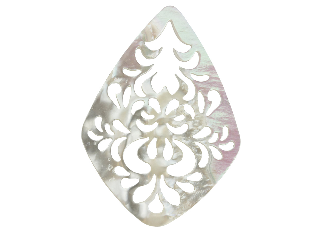 Mother of Pearl White Large        Filigree Drop