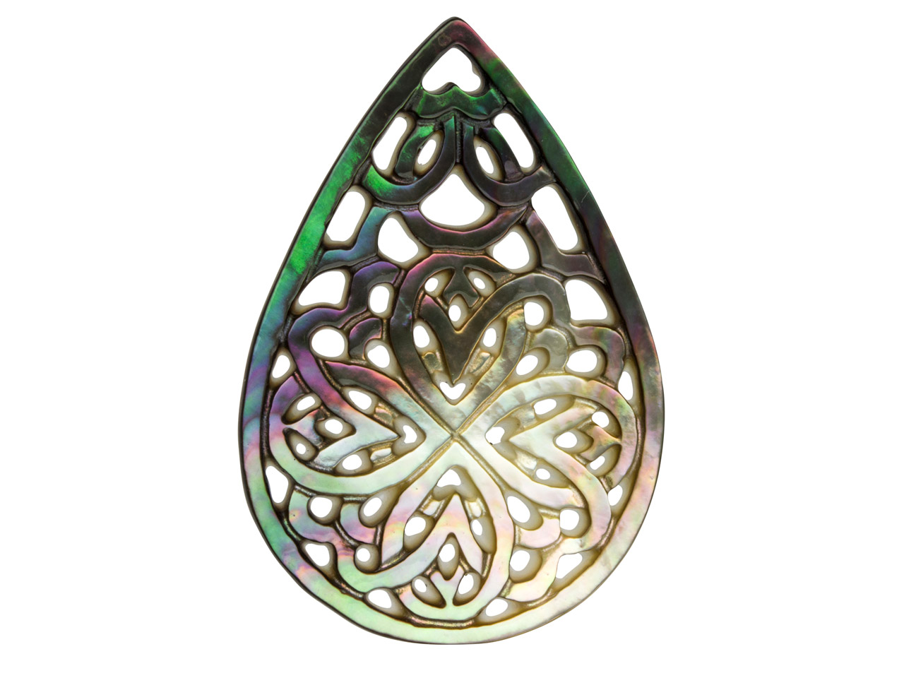 Mother of Pearl Grey And White     Large Filigree Pear Drop