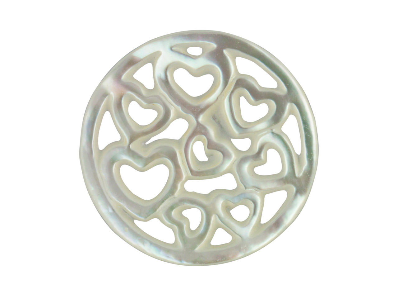 Mother of Pearl White Small Heart  Filigree Disc
