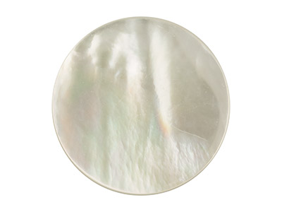 White Mother of Pearl Round Flat   Disc, 18mm