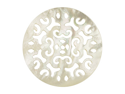 White Mother of Pearl Round        Filigree Disc, 20mm