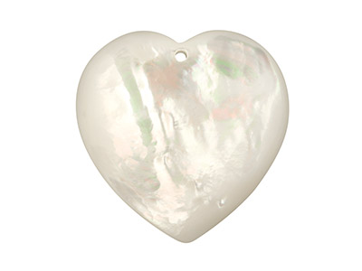 White Mother of Pearl Domed Heart  With Drill Hole, 22mm