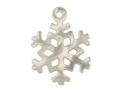 White Mother of Pearl Snowflake,   23x17mm