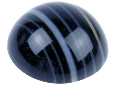 Onyx, Black And White Banded Round Cabochon, 6mm