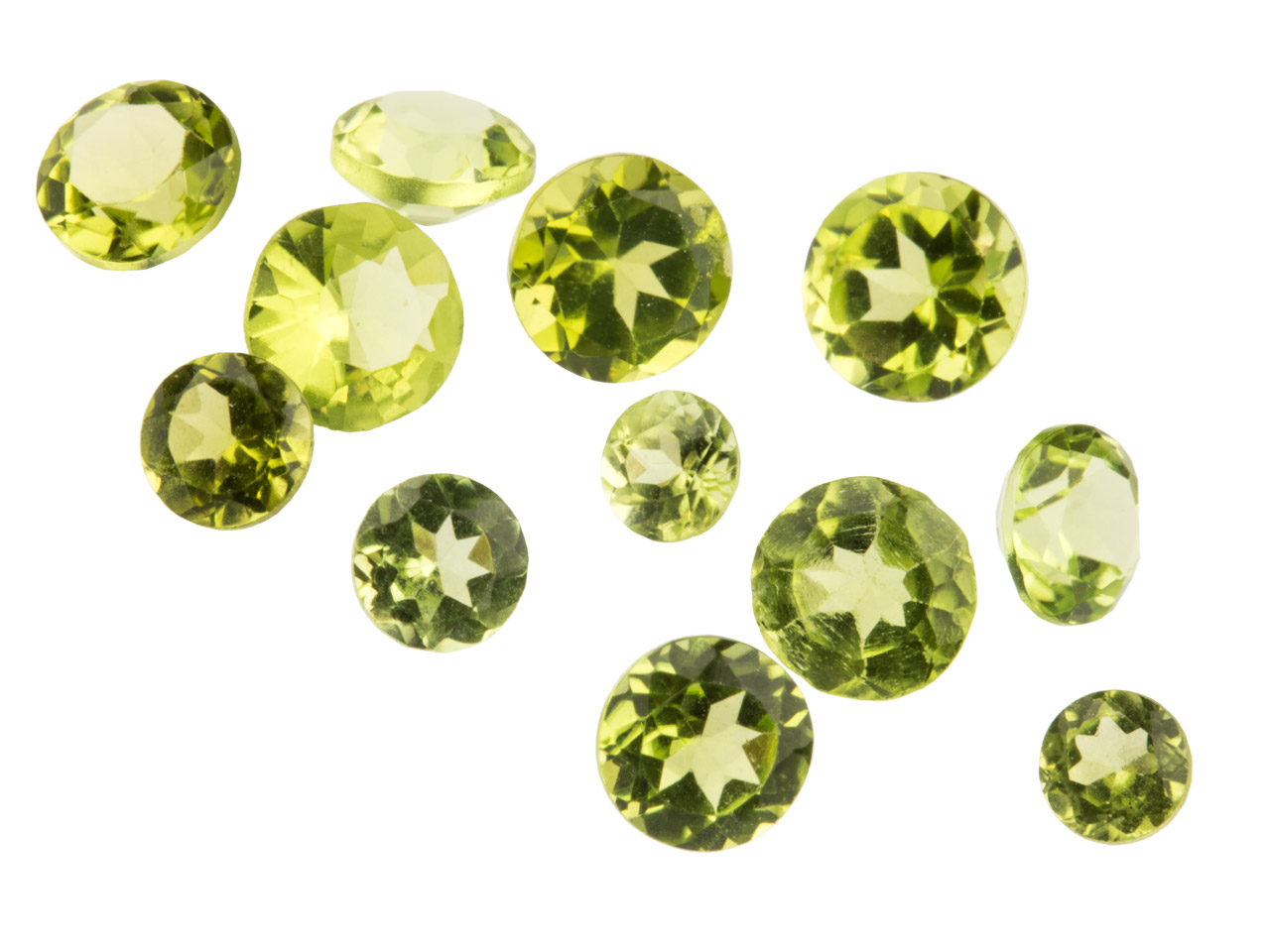 Peridot, Round, 3mm+ Mixed Sizes,  Pack of 12,