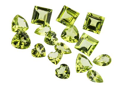 Peridot, Mixed Shapes, Pack of 12,