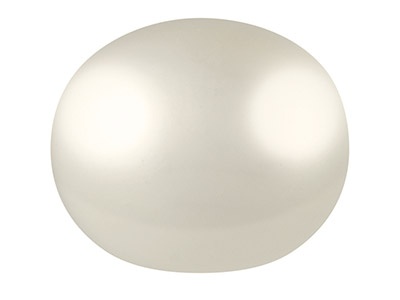 Cultured Pearls Pair Button        Half Drilled 6.5-7mm, White,       Freshwater