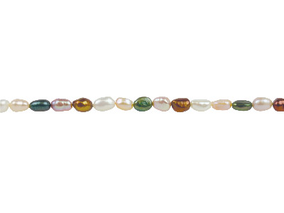 Freshwater Pearl String 8-9mm Multicoloured Rice Shaped 40cm