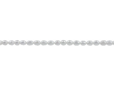 Cultured Pearls Natural White 6x4mm Rice 40cm