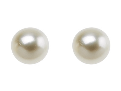 Cultured Pearl Pair Full Round     Half Drilled 3.54mm White         Freshwater