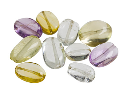Assorted Quartz Beads Fully       Drilled Pack of 10