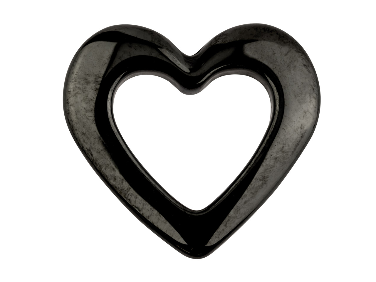 Ceramic Heart, Grey, 15mm