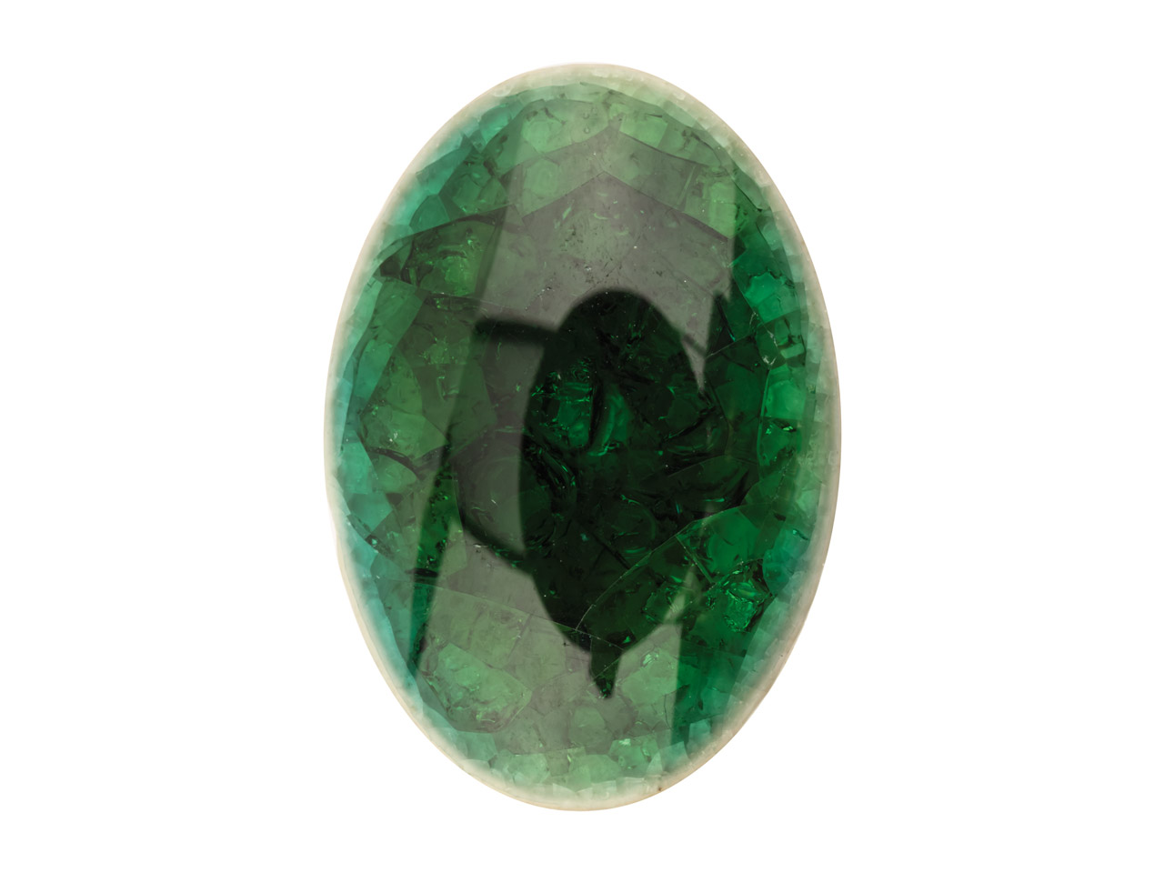 Ceramic Oval Cabochon Green,       18x13mm, Crackle Finish