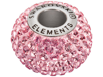 Swarovski Crystal Becharmed Round  Pave Charm Bead, 80 101, 14mm,     Light Rose