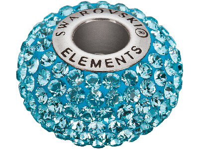 Swarovski Crystal Becharmed Round  Pave Charm Bead, 80 101, 14mm,     Aquamarine