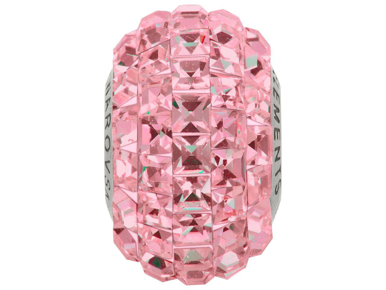 Swarovski Crystal Becharmed Square Pave Charm Bead, 80 201, 15mm,     Light Rose