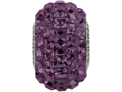 Swarovski Crystal Becharmed Square Pave Charm Bead, 80 201, 15mm,     Amethyst