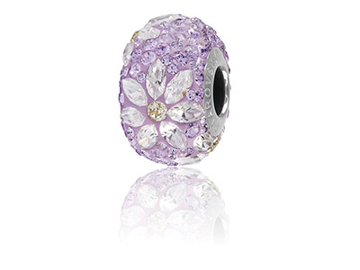 Swarovski Crystal Becharmed Pave   Daisy Charm Bead Violet 14mm    Limited Edition