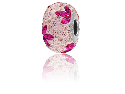 Swarovski Crystal Becharmed Pave   Lily Charm Bead Fuchsia 14mm    Limited Edition