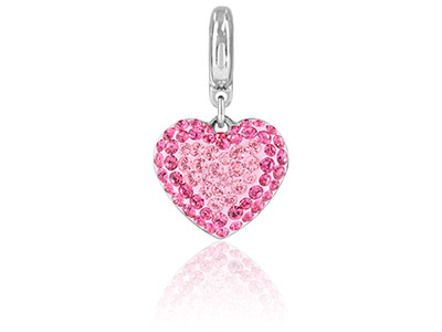 Swarovski Crystal Becharmed Pave   Heart Charm 14mm Light Rose
