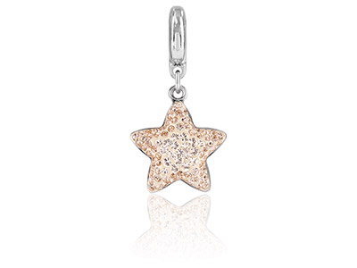 Swarovski Crystal Becharmed Pave   Star Charm, 14mm, Silk