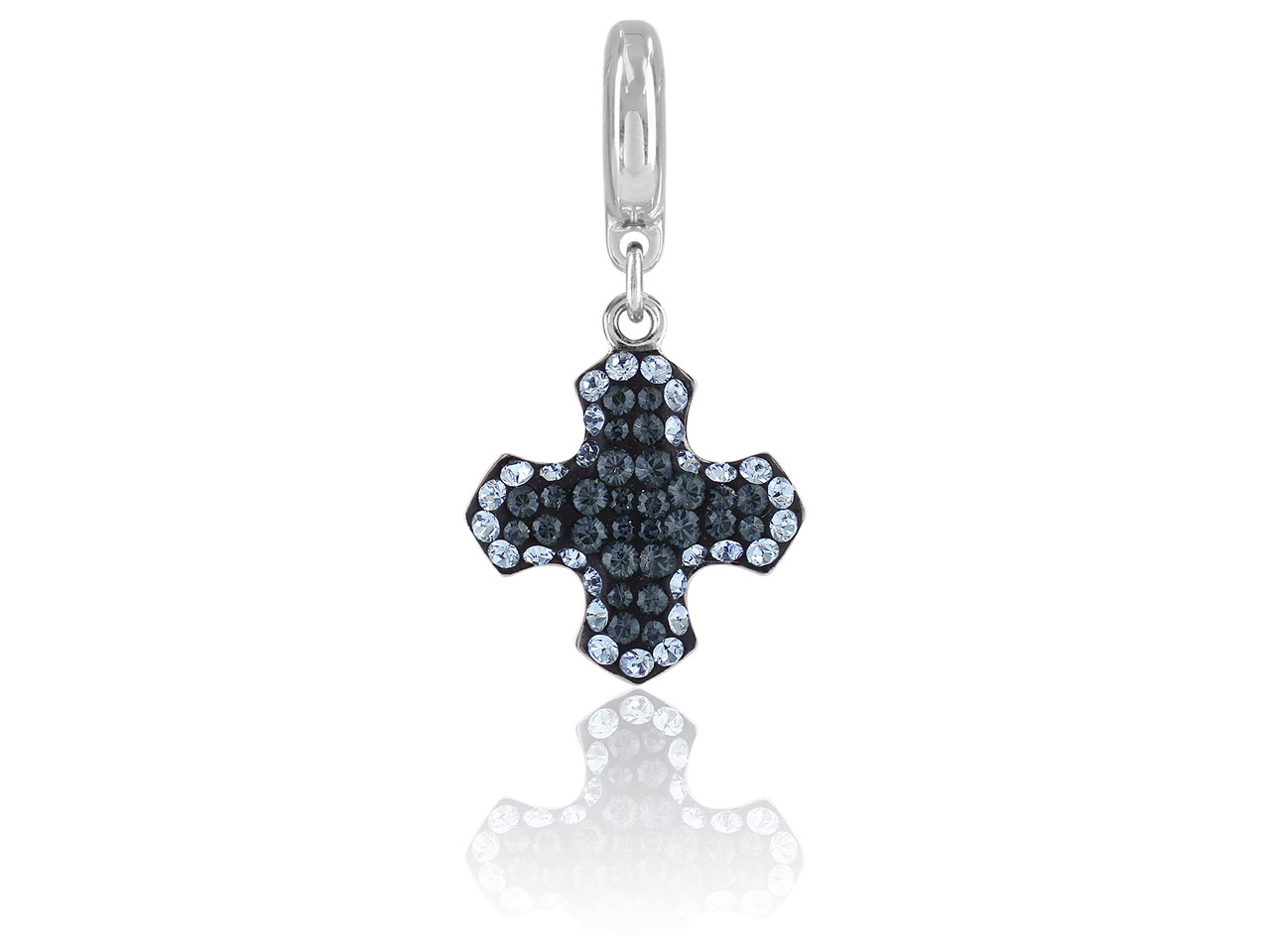 Swarovski Crystal Becharmed Pave   Greek Cross Charm, 14mm, Crystal   Silver Night