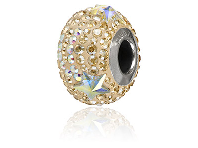 Swarovski Becharmed Pave Shooting  Star Charm Bead Crystal Golden    Shadow 14mm Limited Edition