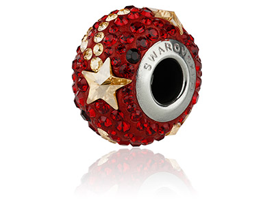 Swarovski Becharmed Pave Shooting  Star Charm Bead Siam 14mm       Limited Edition