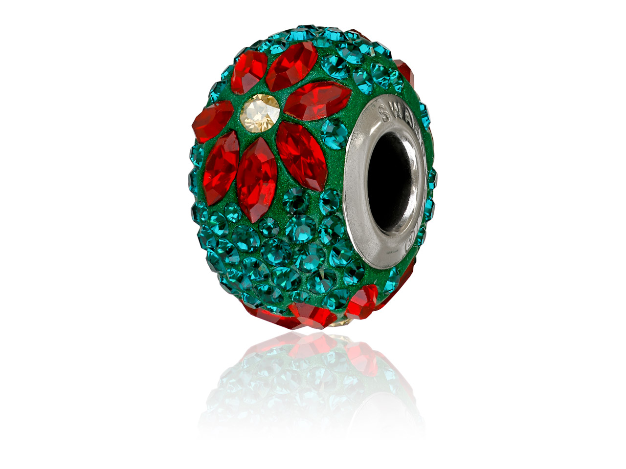 Swarovski Becharmed Pave Poinsettia Charm Bead, Emerald, 14mm, Limited  Edition