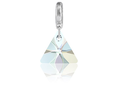 Swarovski Becharmed Crystal Xilion Triangle Charm, 12mm, Crystal Ab