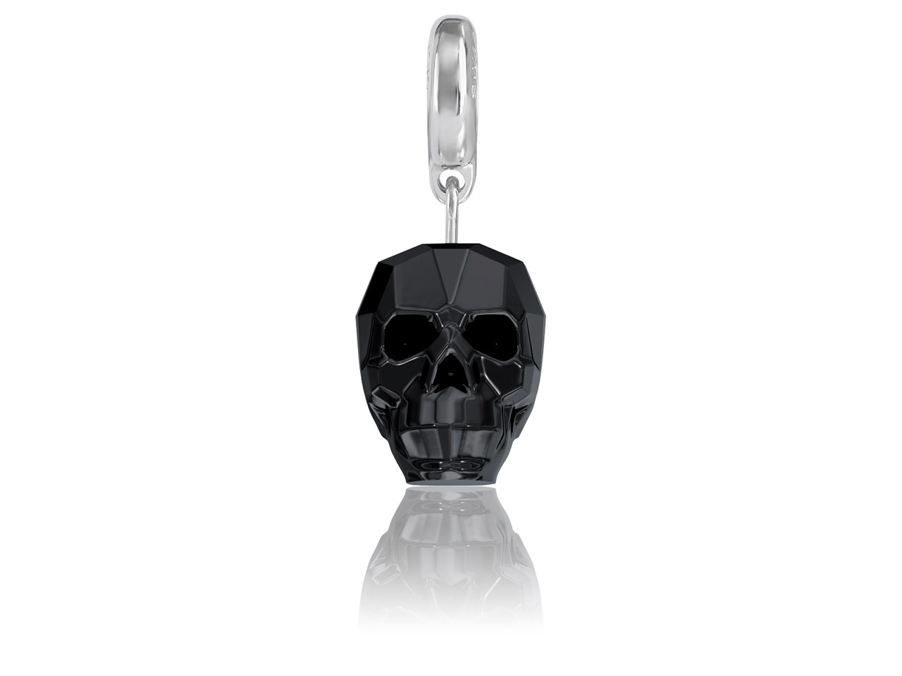 Swarovski Becharmed Crystal Skull  Charm, 13mm, Jet